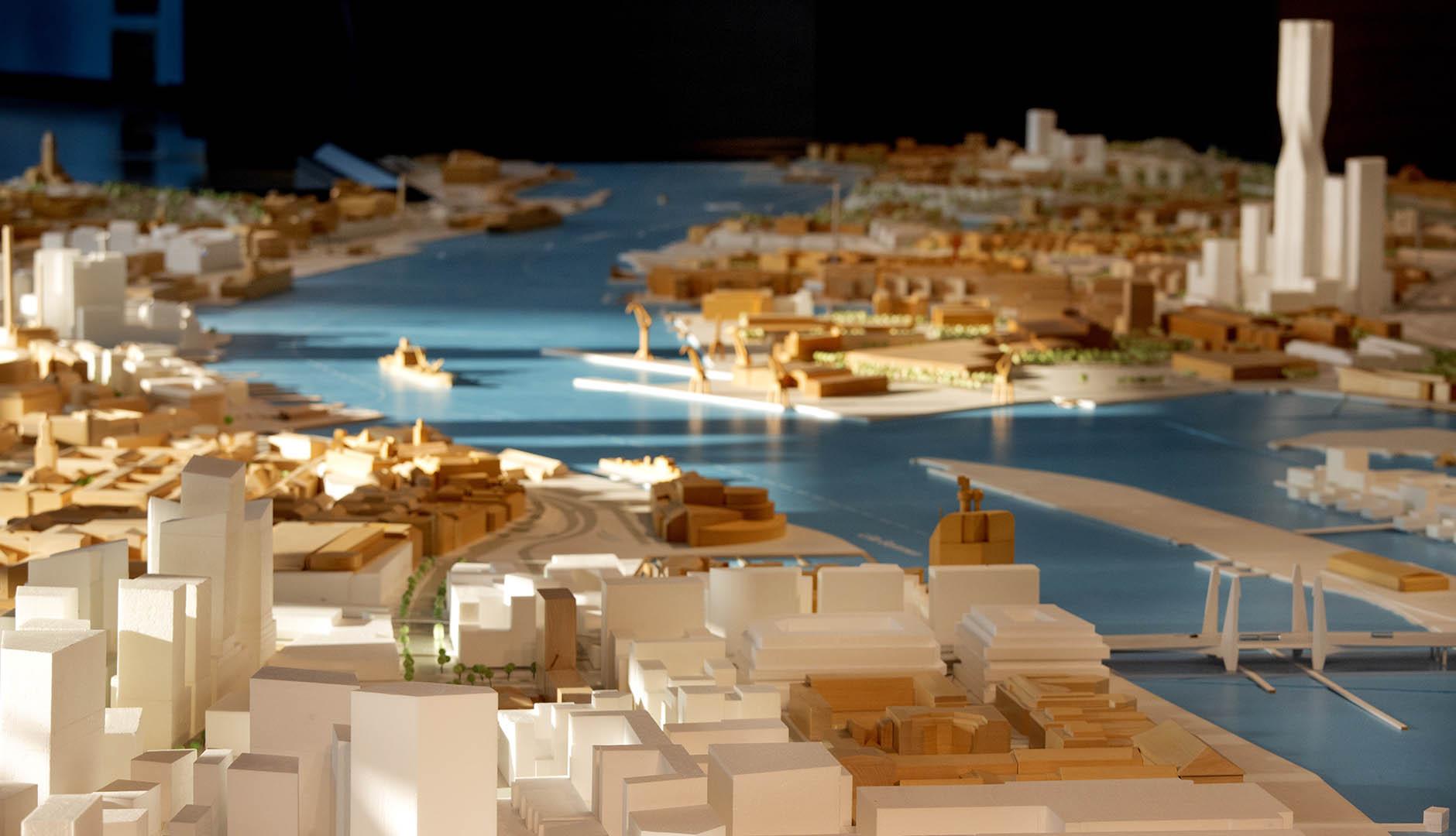 Modell över Göteborg med framtida byggprojekt