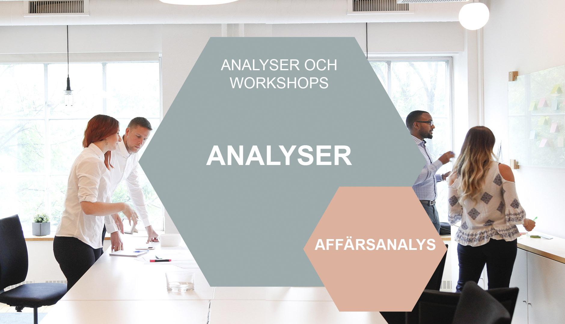 Affärsanalys i hexagon mot bakgrund av människor i workshop