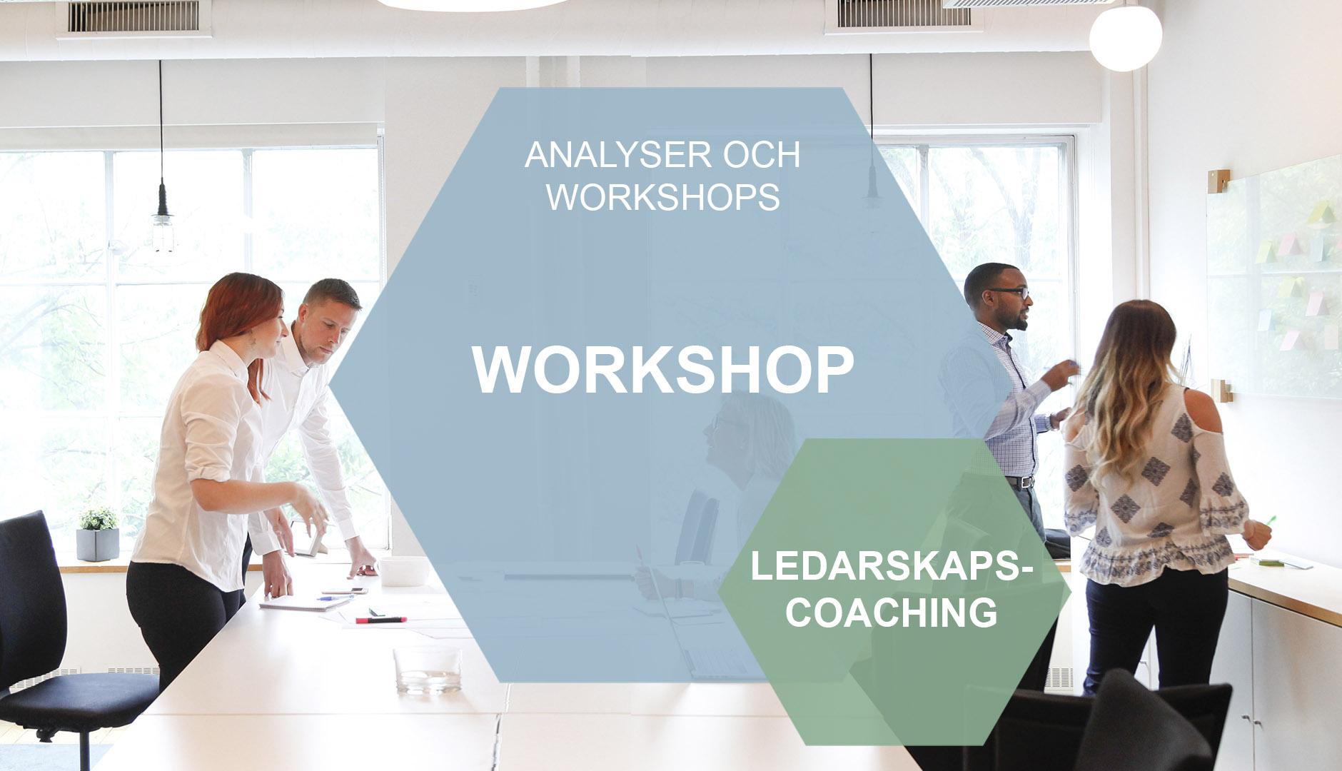Ledarskapscoaching i hexagon mot bakgrund av människor i workshop