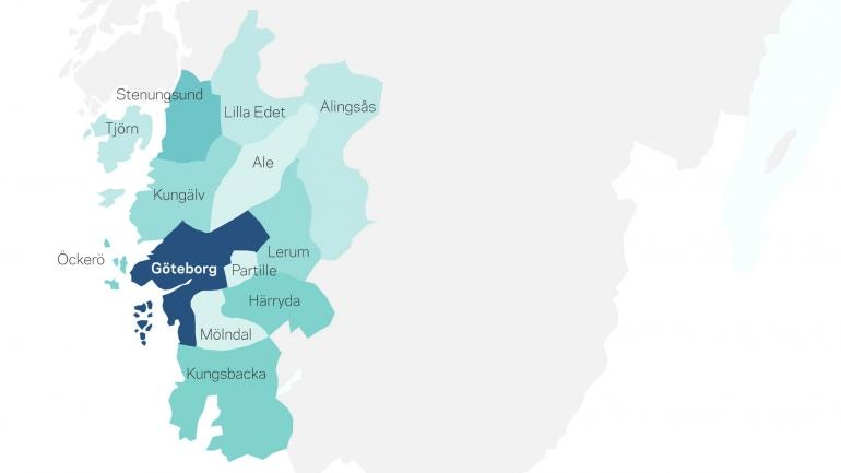 Karta kommunerna i Västra Götalandsregionen
