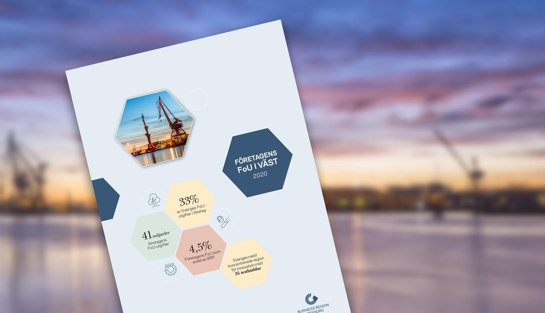 FoU i väst rapport med bakgrundsbild av Göteborg