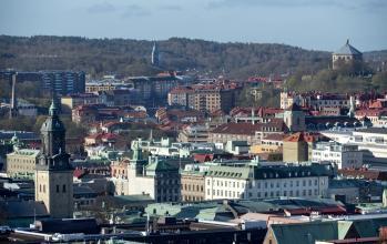 Vy över centrala Göteborg med Tyska kyrkan och Skansen Kronan