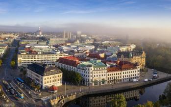 Flygfoto över Kungsportsplatsen i Göteborg