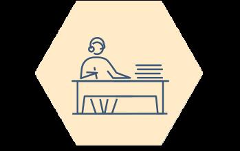 Ikon kontor hexagon, kvinna vid skrivbord