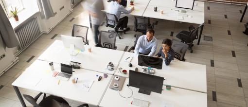 Öppet kontorslandskap med tmedarbetare vid skrivborden
